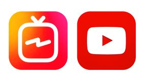 Instagram IGTV and Youtube icons stock photography