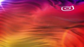 Instagram ikony flaga falowanie na słońcu Bezszwowa pętla z wysoce szczegółowym tkaniny textur zdjęcie wideo