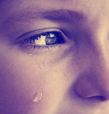 Instagram Little Girl Crying with Tears. Instagram Portrait of little girl crying with tears rolling down her cheeks Stock Image