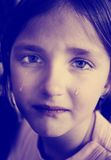 Instagram of Little Girl Crying with Tears Rolling Down Cheeks Royalty Free Stock Photo