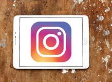 Instagram logo. Instagram application logo and vector on samsung tablet Stock Photo