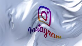 Instagram logo Flag Waving in Wind Continuous Seamless Loop Background.