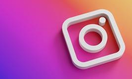 Instagram Logo Minimal Simple Design Template. Copy Space 3D
