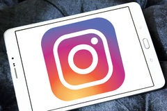 Instagram logo. Logo of instagram on samsung tablet stock images