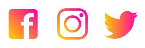Instagram, logotipo de Twitter Facebook ilustração do vetor