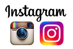 Instagram och nya Instagram logoer skrivev ut på papper Royaltyfri Bild