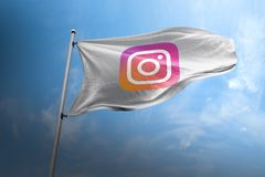 Instagram photorealistic flag editorial royalty free stock image