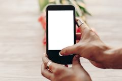 Instagram photographer, blogging workshop concept. hand holding stock image