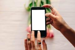 Instagram photographer, blogging workshop concept. hand holding royalty free stock photos