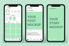 Free Instagram Post Template For Profile And Feed Stories On Smartphone. Social Media Mockup Ui Ux Stock Image - 193191881