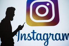 Instagram social network photo sharing online. Ukraine, Kharkiv, 24.10.2017. Instagram. Social network designed for photo and video sharing, business promotion Stock Photography