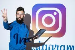 Instagram socialt nätverksfoto som direktanslutet delar Royaltyfri Fotografi