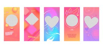 Instagram Story Abstract Template Mobile App. Instagram Story Colorful Abstract Template Mobile App Page Onboard Screen Set. Modern Pink Purple Yellow Design vector illustration