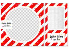 Instagram story and post vector templates with red and white stripes vector illustration