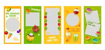 Instagram Story Template Food Diet Recipe Mobile App Page Onboard Screen Set. Colorful Fruit Vegetable Cake Idea Design. Social. Media Background Website or Web stock illustration