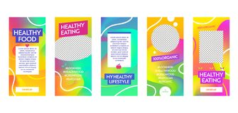 Free Instagram Story Template Healthy Food Eating Lifestyle Mobile App Page Onboard Screen Set. Bright Content Frame Design. Social Stock Photo - 140891140