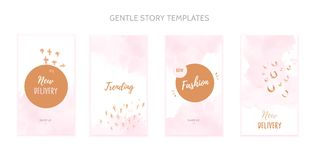 Instagram story template set with grunge splashes and watercolor stain. Instagram story template set with grunge splashes and watercolor stain royalty free illustration