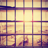 Instagram stylized picture of an airport. Stock Photo