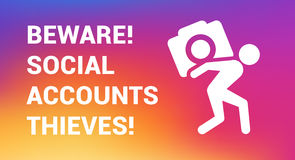 Instagram-thief copy. The beware of social account thief information card or poster. The glyth icon of a man stealing the camera. Trendy colors Royalty Free Stock Photo