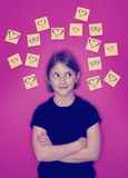 Instagram Young Girl Thinking of Love Royalty Free Stock Photography