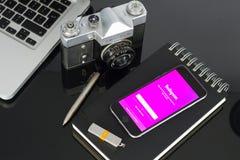Instagrampagina Stock Foto's