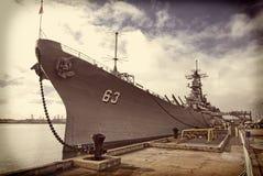 Instagramversie van het Slagschip van USS Missouri bij Parelhaven in Hawaï stock foto's