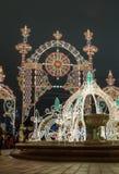 A instalação clara por feriados do Natal aproxima o teatro grande de Bolshoy Fotos de Stock