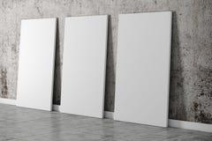 instalação 3d interior com parede e assoalho do grunge Fotos de Stock
