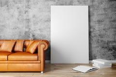 instalação 3d interior com sofá e o cartaz vazio ilustração do vetor