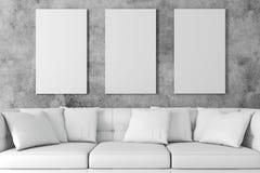 instalação 3d interior com sofá e o cartaz vazio ilustração royalty free