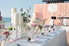 Instalação da tabela do casamento Foto de Stock Royalty Free