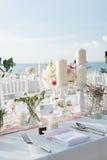 Instalação da tabela do casamento Fotografia de Stock
