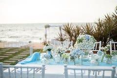 Instalação da tabela do casamento Fotos de Stock Royalty Free