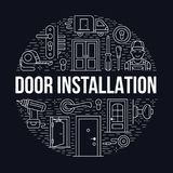 A instalação das portas, ilustração da bandeira do reparo Vector a linha ícones de vários tipos da porta, punho, trava, fechament ilustração royalty free