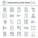 A instalação das portas, linha ícones do reparo Vários tipos da porta, punho, trava, fechamento, dobradiças O design de interiore Fotos de Stock