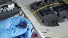 A instalação de um cabo de fibra ótica amarelo Fotos de Stock Royalty Free