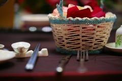Instalação dinning elegante do tampo da mesa Foto de Stock