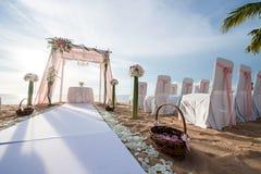 Instalação do casamento de praia Foto de Stock
