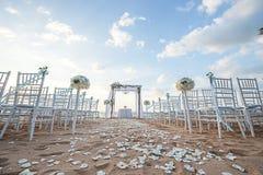 Instalação do casamento de praia Fotos de Stock