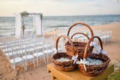 Instalação do casamento de praia Fotografia de Stock Royalty Free