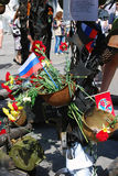 A instalação do dia da vitória Bandeira do estado do russo tricolor Fotografia de Stock