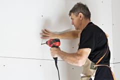 A instalação do Drywall Fotografia de Stock Royalty Free