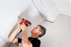 A instalação do Drywall Fotografia de Stock