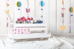 Instalação do fundo do estúdio da fotografia do bebê fotos de stock royalty free