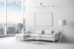 instalação interior branca da sala 3d Imagens de Stock Royalty Free
