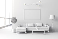 instalação interior branca da sala 3d Fotos de Stock Royalty Free
