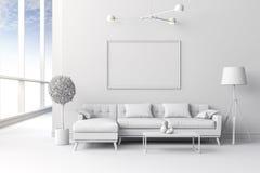 instalação interior branca da sala 3d Fotografia de Stock Royalty Free