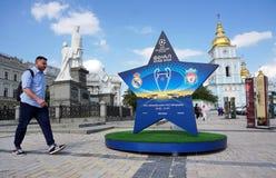 Instalación con el logotipo del final de la liga de campeones de UEFA imagen de archivo libre de regalías