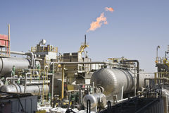 Instalación costa afuera de la producción petrolífera Fotografía de archivo libre de regalías