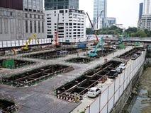 Instalación de bloques de cemento Imagenes de archivo